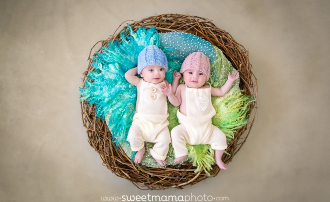 Newborn and family portrait by Cyprus-based Family portrait boutique Sweetmama Photography - Twin boy and girl